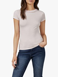Ted Baker Jacii Frill Neck Fitted T Shirt Pink