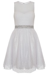 Quiz White Chiffon Glitter Prom Dress Winter White