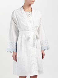 John Lewis Circle Flower Embroidered Dressing Gown White Blue