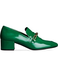 Burberry Link Detail Patent Leather Block Heel Loafers Green