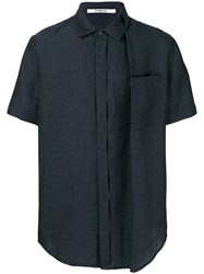 Chalayan Embroidered Short Sleeve Shirt Blue