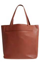 Bp. Stitched Faux Leather Tote Brown Cognac