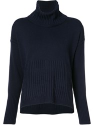Derek Lam 10 Crosby Ribbed Roll Neck Jumper Blue