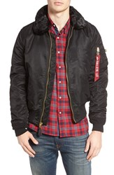 Alpha Industries Men's B 15 Removable Faux Fur Collar Flight Jacket