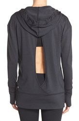 Women's Zella 'Turn Around' Hoodie Black Charcoal Stripe