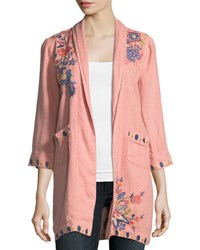 Johnny Was Tivva Heavy Linen Embroidered Coat Plus Size Apricot