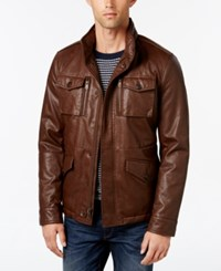 Tommy Hilfiger Men's Faux Leather Field Jacket Saddle