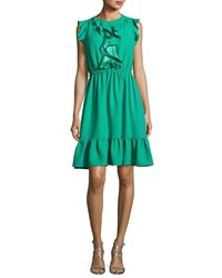 Kate Spade Sleeveless Crepe Ruffle Dress Beryl Green