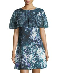 Tahari By Arthur S. Levine Floral Print Ruffle Crepe De Chine Dress Multi Pattern