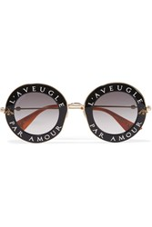 Gucci Round Frame Acetate And Gold Tone Sunglasses Black