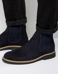 Selected Homme Noah Perforated Suede Chelsea Boots Navy