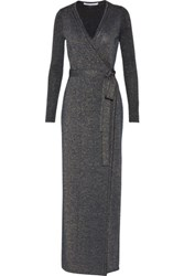 Diane Von Furstenberg Evelyn Wrap Effect Metallic Merino Wool Blend Maxi Dress Charcoal