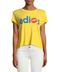 Wildfox Couture Adios Shrunken Crewneck Graphic Tee Yellow