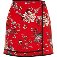 River Island Womens Red Floral Print Mini Skirt