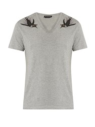 Alexander Mcqueen Swallow Print Cotton Jersey T Shirt Grey