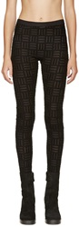 Gareth Pugh Black Sheer And Flocked Leggings