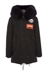 Mr And Mrs Italy Embroidered Midi Parka Black