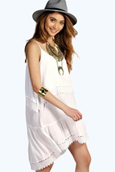 Boohoo Lace Trim Swing Cami Dress White