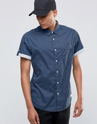 Esprit Short Sleeved Shirt With Contrast Turn Up Sleeves Navy