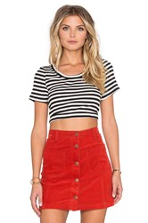 Minkpink Strike Me Crop Top Black And White