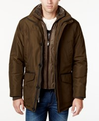 Weatherproof Vintage Faux Fur Collar Layered Parka Army