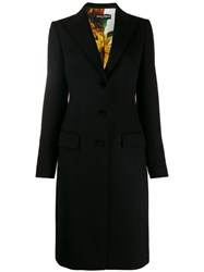 Dolce And Gabbana Single Breasted Fitted Coat Black
