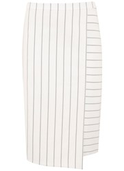 Mint Velvet White Stripe Pencil Skirt White