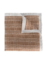 Eleventy Woven Linen Scarf Brown
