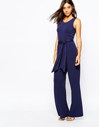 Warehouse Wide Leg Jumpsuit Navy