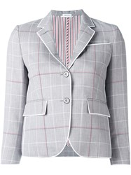 Thom Browne Checked Cropped Blazer Grey