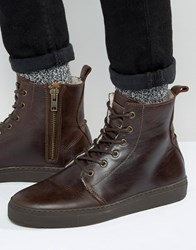 Asos Lace Up Boots In Brown Leather With Faux Shearling Lining Brown