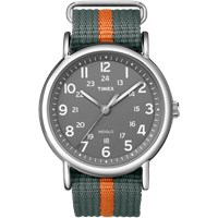 Timex Weekender Slip Thru Watch Steel. Grey And Orange