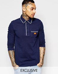 Ellesse L.S Long Sleeve Polo Shirt Navy