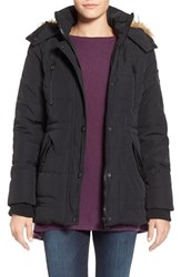 Women's Guess 'Expedition' Short Quilted Parka With Faux Fur Trim Black