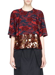 Dries Van Noten 'Comeau' Cloud Print Crepe Beaded Sequin Fringe Top Red