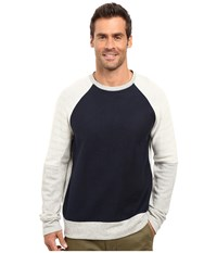 Nautica Long Sleeve Blocked Crew Knit Grey Heather Men's Long Sleeve Pullover Gray