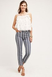 Anthropologie 7 For All Mankind Ankle Straight Jeans Indigo Stripe 24 Pants
