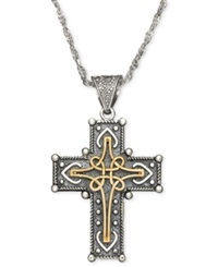 Macy's 14K Gold And Sterling Silver Pendant Victorian Cross Chain