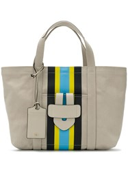 Tila March Front Striped Tote Neutrals