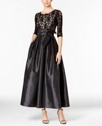 R And M Richards Petite Glitter Lace Taffeta Gown Black Taupe