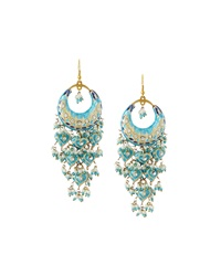 Chamak By Priya Kakkar Half Moon Chandelier Earrings Turquoise