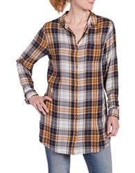 Jag Magnolia Plaid Long Shirt Camel