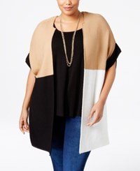 Ny Collection Plus Size Colorblocked Duster Cardigan Beigekhaki