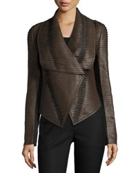 P. Luca Faux Leather Striped Drape Front Jacket Brown