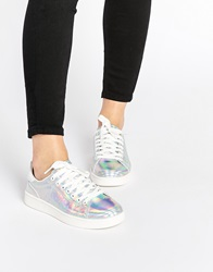 New Look Holographic Trainers Silver