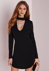 Missguided Crepe Choker Curve Hem Cut Out Bodycon Dress Black