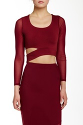 Donna Mizani Long Sleeve Cutout Crop Top Red
