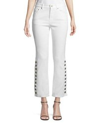 Chloe Button Side Straight Leg Cropped Jeans White