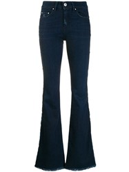 Don't Cry Press Stud Flared Jeans Blue
