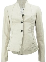 Masnada Button Front Fitted Jacket Women Cotton Linen Flax Resin 40 Nude Neutrals
